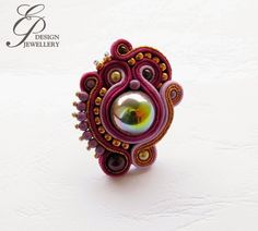 Soutache ring Textile Jewelry, Embroidery Jewelry, Beaded Embroidery, Hand Embroidery, Ring Necklace, Earrings, Soutache Jewelry, Shibori, Clay Jewelry