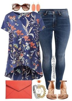Plus Size Floral Top Outfit - Plus Size Fashion for Women - alexawebb.com