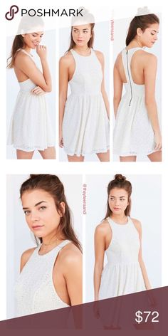 Urban Outfitters Lace Racerback Fit + Flare Dress Lovely lace racerback dress in a flattering sleeveless fit + flare silhouette, by Kimchi Blue from Urban Outfitters. Features a fitted high-neck bodice and shirred-waist skater skirt. Lined and finished with added stretch + an exposed zipper in the back. Color = Ivory white Urban Outfitters Dresses Mini