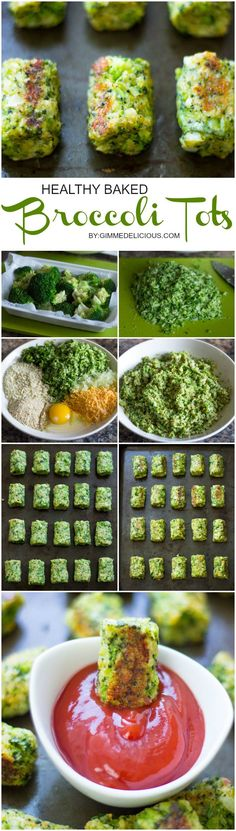 Healthy Baked Broccoli Tots are the perfect low-fat snack! #GimmeDelicious #Skinny FTDI if you leave out the breadcrumbs and cheese