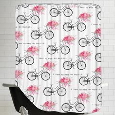 East Urban Home I Want To Ride My Bicycle Shower Curtain