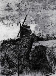 Eugène DELÂTRE - Montmartre, Moulin Debray vu de la rue Lepic - 14 x 18,6 cm - Pointe sèche et aquatinte