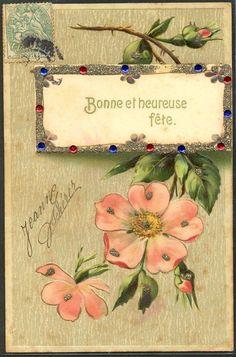 ~GJ168 ROSES Sauvages BRILLANTS FANTAISIE Gaufrée RELIEF~
