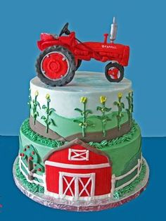 Farm cake with tractor on top. I would not feel bad at all recreating the bottom two layers and putting a toy tractor on top. Tractor Birthday Cakes, Farm Birthday, Tractor Cakes, Birthday Ideas, Red Tractor, Tractor Cupcake Cake, Birthday Parties, Cupcakes, Cupcake Cakes