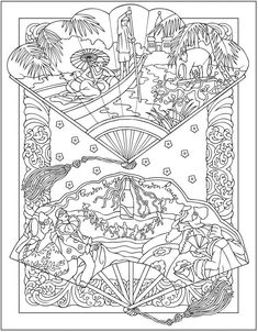 dover coloring book creative haven vintage hand fans - Google Search