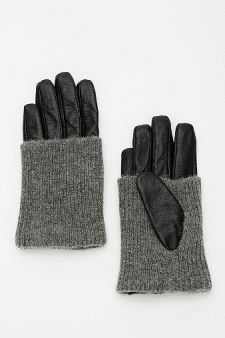 Knit-Trim Leather Glove