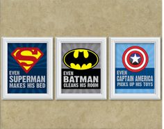 Superhero Theme Art Prints - Set of 3 - Pick your 3