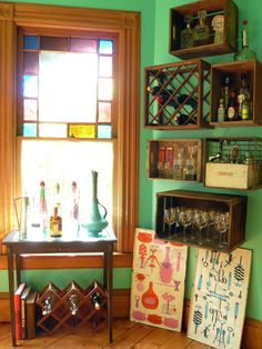 Best bar idea I've seen yet! Repurposed crates for a charming bar. I see this in my future.