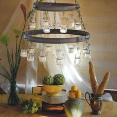 DIY chandelier made from recycled baby-food jars