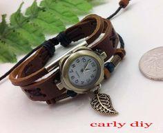 Leaves pendant Antique leather braceletWomen by Carlydiy on Etsy, $12.99