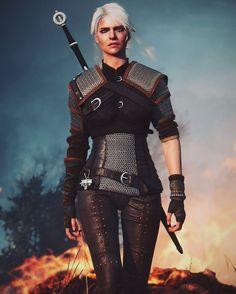 The Witcher Geralt Ciri Witcher Armor, The Witcher Geralt, Dnd Characters, Fantasy Characters, Female Characters, The Witcher Wild Hunt, The Witcher Game, Warrior Girl, Fantasy Warrior