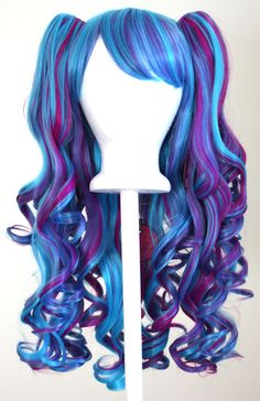 Gothic Lolita Wig + 2 Pig Tails Set Electric Blue and Magenta Cosplay NEW Gothic Hairstyles, Pretty Hairstyles, Wig Hairstyles, Costume Wigs, Cosplay Wigs, Cosplay Hair, Gothic Dolls, Gothic Lolita, Ombre Wigs