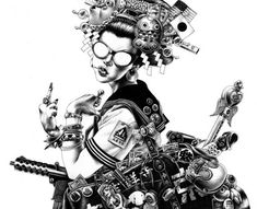 Illustrations by Shohei Otomo. Otomo is an illustrator from Tokyo