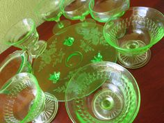 7 Depression Era Green Glasswear Footed by FabulousVintageHats
