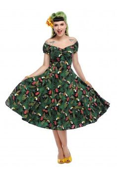e9f256896 Vacation Outfit Inspiration: Tropical Vintage Style Dress from Collectif /  Swing Dress / Retro /