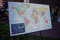 World Map Seating Chart; helps your guests find where they are sitting
