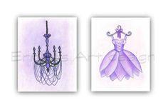 Baby Girl Nursery Ballet Dress Chandelier wall art French
