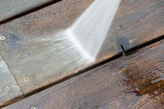 Wood Deck Floor Cleaning With High Pressure Water Jet Floor Cleaning, Reclaimed Lumber, Jet, Stains, Construction, Flooring, Wood, Water, Building
