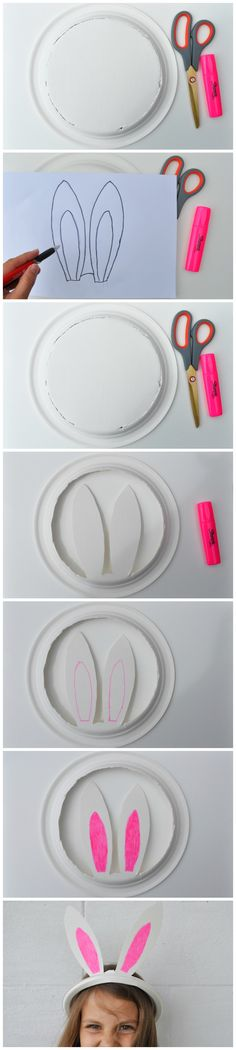 Paper Plate Bunny Ears for Easter ! So cute and easy art project for kids. #Easter #craft #kids