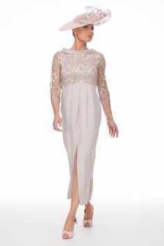 Ankle Length Dress And Guipure Top | Joyce Young Mother Of The Bride Fashion, Mother Of The Bride Hair, Mother Of Bride Outfits, Mother Of Groom Dresses, Classy Wedding Dress, Wedding Dress Shopping, Wedding Dresses, Bride Dresses, Wedding Hats
