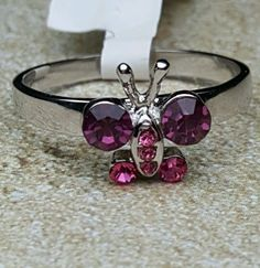 SilverTone  Cocktail Ring Butterfly Pink Purple  Delicate Dainty Ladies Size 11  #Unbranded #Cocktail