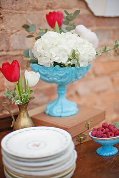 Valentine wedding floral is just gorgeous in aqua milk glass! LOVE! We could also spray paint vases!