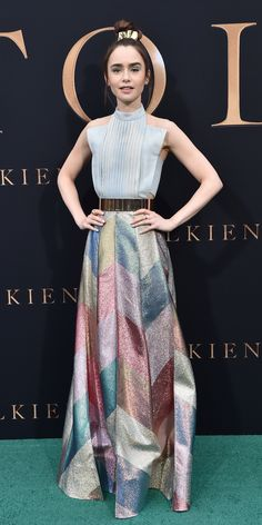 For a screening of Tolkien, Lily Collins wore a Ronald Van Der Kemp gown with a denim corset top and a multi-color striped skirt. InStyle's Look of the Day picks for May 2019 include Halle Berry, Anne Hathaway and Lily Collins. Lily Collins Gown, Lily Collins Style, Celebrity Outfits, Celebrity Style, Tolkien, Denim Corset, Paris Outfits, Cute Summer Dresses, Lovely Dresses