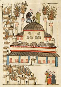 Hagia Sophia-Ayasofya-The fire at Hagia Sophia, miniature from Turkish Memories, Cicogna Codex, Turkey 17th Century