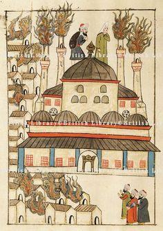 Hagia Sophia-Ayasofya-The fire at Hagia Sophia, miniature from Turkish Memories, Cicogna Codex, Turkey 17th Century