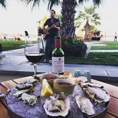 The recipe for a perfect Wednesday in #MissionBay? Fresh kumamoto #oysters, great wine, and acoustic tunes by @myrds. Join us for live music from 6-9pm tonight! #OceanaCoastal