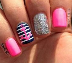 """""""SailorGirl!"""" - pink based on index and pinky with a middle glitter finger. then navy blue nautical stripes with a pink anchor decal on ring finger."""
