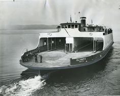 """the ferry """"Olympic"""" as she started her service in the Washington State Ferry fleet. The """"Olympic"""" was the first ferry purchased by Washington State Ferries. It ran routes in the Hood Canal and Puget Sound. The state surplused the vessel in Seattle Washington, Washington State, Staten Island Ferry, Olympic Mountains, Ferry Boat, Digital Archives, Tug Boats, Olympic Peninsula, Emerald City"""