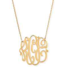 Jennifer Zeuner 18k Gold Vermeil Medium 3-Letter Monogram Necklace ($220) ❤ liked on Polyvore featuring jewelry, necklaces, accessories, gold, monogram necklaces, letter pendant necklace, initial necklace pendant, initial necklace and monogram pendant necklace