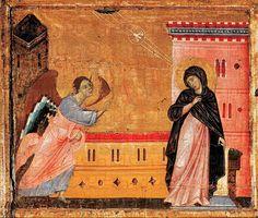 Annonciation (retable de Saint-Pierre trônant)  Guido Graziano, dit aussi Guido da Siena (2e moitié du 13e siècle) Datation : 1280   (date conjecturale) Sienne, Pinacothèque nationale