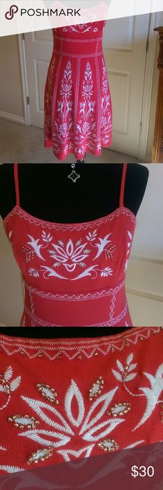 2 B free  Gorgeous Red Embellished Dress! This is so cute and perfect for summer! With spaghetti straps and is form fitting. Beautiful embroidered and beaded accents.  It has a lightweight lining. The tag has been removed. 2 B Free Dresses