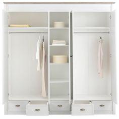Armoire-penderie style campagnard 5 portes + miroirs 5 tiroirs Home affaire Chateau Largeur 215 cm - Blanc- Vue 3 Armoire Ikea, Creative Decor, Closet, Furniture, Home Decor, Storage Trunk, Drawers, Wardrobes, Pivot Doors