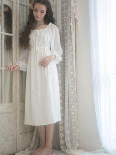 Vintage White Cotton Tunic Maxi Dress Fall Autumn by ChineseHut