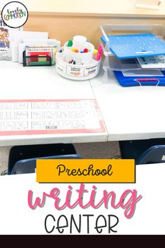 The Writing Center in a preschool classroom is a place for children to explore writing utensils, write on different paper surfaces and express themselves through writing. See what is inside my Writing Center. Writing Center Preschool, Preschool Centers, Preschool Classroom, Play Based Learning, Learning To Write, Learning Centers, Cool Writing, Writing Paper, Writing Resources