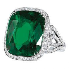 17.25-carat emerald, diamond and platinum ring by Garrard