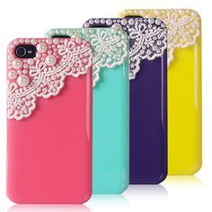 Lace Pearl iPhone Case Bling  iPhone 4/4s Case by deephonecover, $14.80