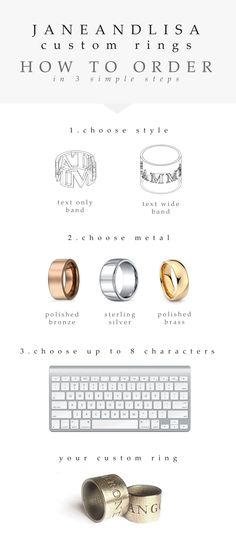 J A N E + L I S A custom ring infographic.  3 simple steps and you can have your very own custom design ring!  Check out http://www.janeandlisa.com/#!creative-you/c22sl for more info!  #customring #jewelry #jewellery #janeandlisa #creativeyou #infographic #graphics