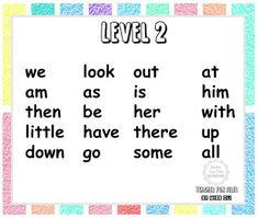 Sight words, often also called high frequency words, are commonly used words that young children are encouraged to memorize as a whole by sight, so that they can automatically recognize these words in print without having to use any strategies to decode.  Here are just some basic sight words categorized into different levels of difficulty. Basic Sight Words, Early Reading, High Frequency Words, Visual Aids, Picture Cards, Kindergarten Teachers, Learn To Read, Young Children, How To Memorize Things