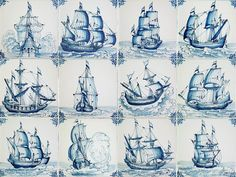 New handcrafted Dutch Delft tiles with ship scenes Traditional handmade in Friesland, the Netherlands. Delft Tiles, Antique Tiles, Tile Murals, Handmade Tiles, Blue Rooms, Ship Art, Book Design, Dutch, Blue And White