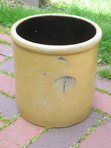 Antique 2 gal. Salt glazed crock -  Bees eye hallmark..