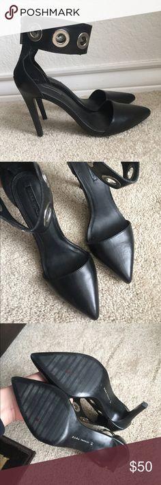 Zara Black Ankle Strap Silver Rivet Heels Zara Black Ankle Strap Silver Rivet Heels  size 37 Zara Shoes Heels