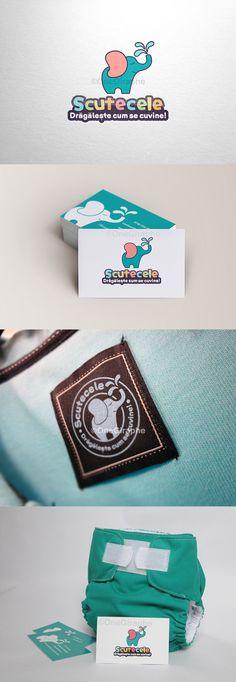 Scutecele ( Little Diapers ) - #logo #design #baby #diapers #kids #cute #sweet #love #elephant  #brand #identity #behance #logopond #brandstack #stocklogos #sale #portfolio #logodesign #design #designer #brand #brandidentity
