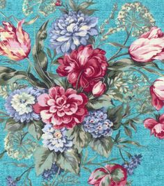 Two Daughters™ Cotton Fabric-Dynamic Floral Bouquet - idea for new shelf accent