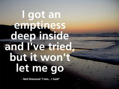 Neil Diamond *knows*. I got an emptiness deep inside and I've tried but it won't let me go. ♥Miss you♥ Grief Song Quotes, Music Quotes, Neil Diamond, Diamond Girl, Diamonds Lyrics, Diamond Quotes, Lyric Tattoos, Funny Comments, My Demons