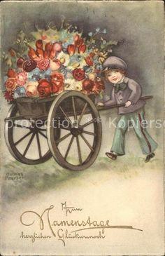 Petersen Hannes Namenstag Karren Blumen Junge Kat. Kuenstlerkarte 0