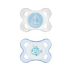 Mam Clear Orthodontic Silicone Pacifier 2-Pack 0-6M, Colors May Vary